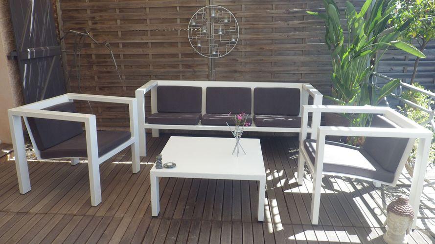 Salon de jardin moderne design en acier blanc DESIGN ACIER