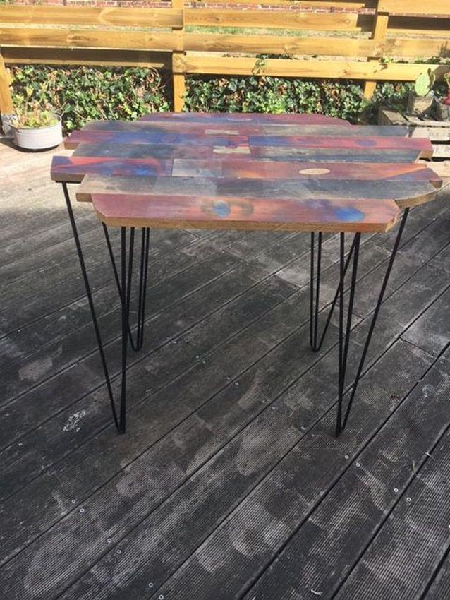 table pieds pingle cr ation menuiserie pierre fruchart design acier. Black Bedroom Furniture Sets. Home Design Ideas