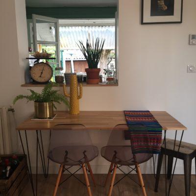 Pieds épingle Design Acier création table haute Mathieu
