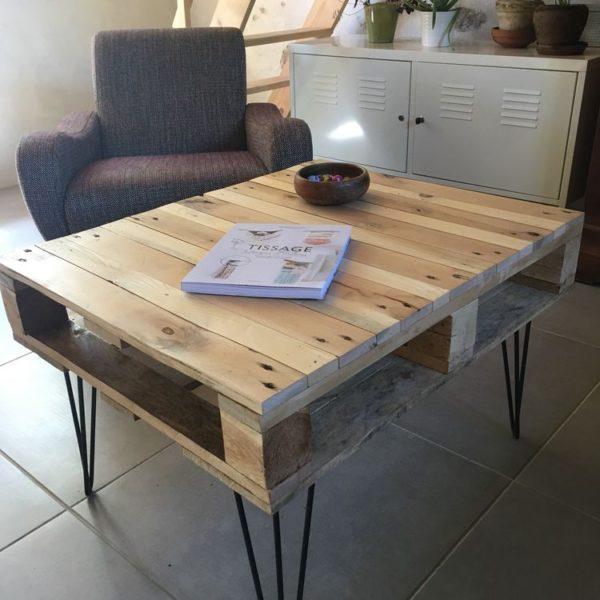 Table basse palette Emilie pieds Design Acier