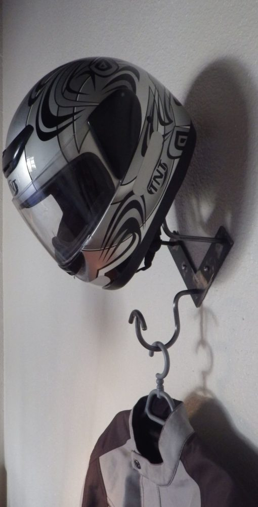 patère porte casque blousons moto design acier