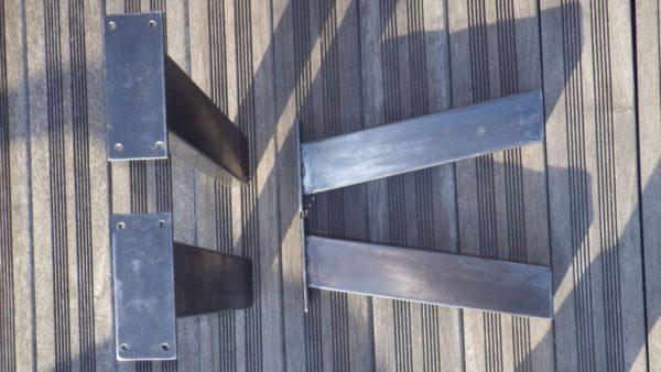 4 pieds acier inclinés pour meubles DIY pieds de table DESIGN ACIER